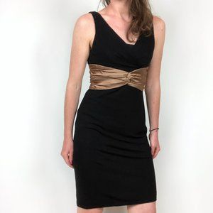 Kay Unger Black Gold Sleeveless Fitted Dress